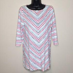 J.Jill Small Tunic 3/4 sleeve V stripped pattern